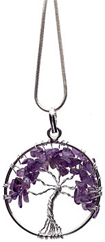 Amethyst tree necklace on silver plated chain