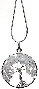 Clear quartz tree necklace on silver plated chain