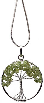 Peridot tree necklace on silver plated chain