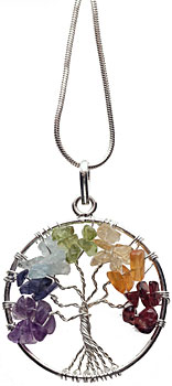 Chakra tree necklace on silver plated chain