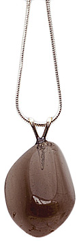 Smoky quartz necklace on silver plated chain