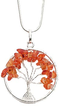 Carnelian tree necklace on silver plated chain
