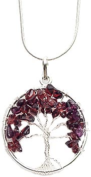 Garnet tree necklace on silver plated chain