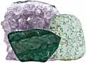 Display Crystals flat base, amethyst, calcite, malachite, selenite, lapis lazuli